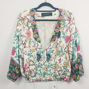 Zara Japanese Cherry Blossom Tree Birds Jacket